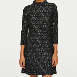 [LOFT] Jacquard 3/4 Sleeve Flare Dress